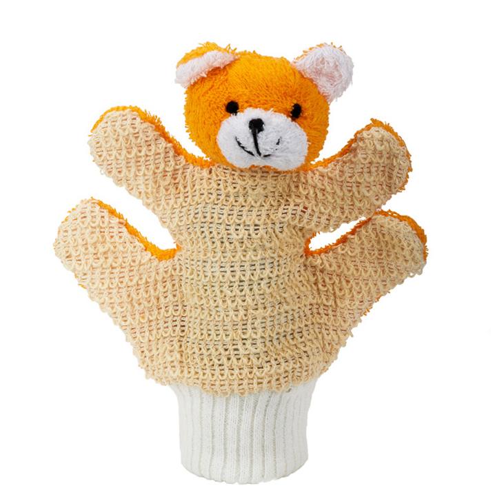 MYCÍ RUKAVICE-medvídek oranžový - Sisal, Lufa, Ramie, Len - zvìtšit obrázek