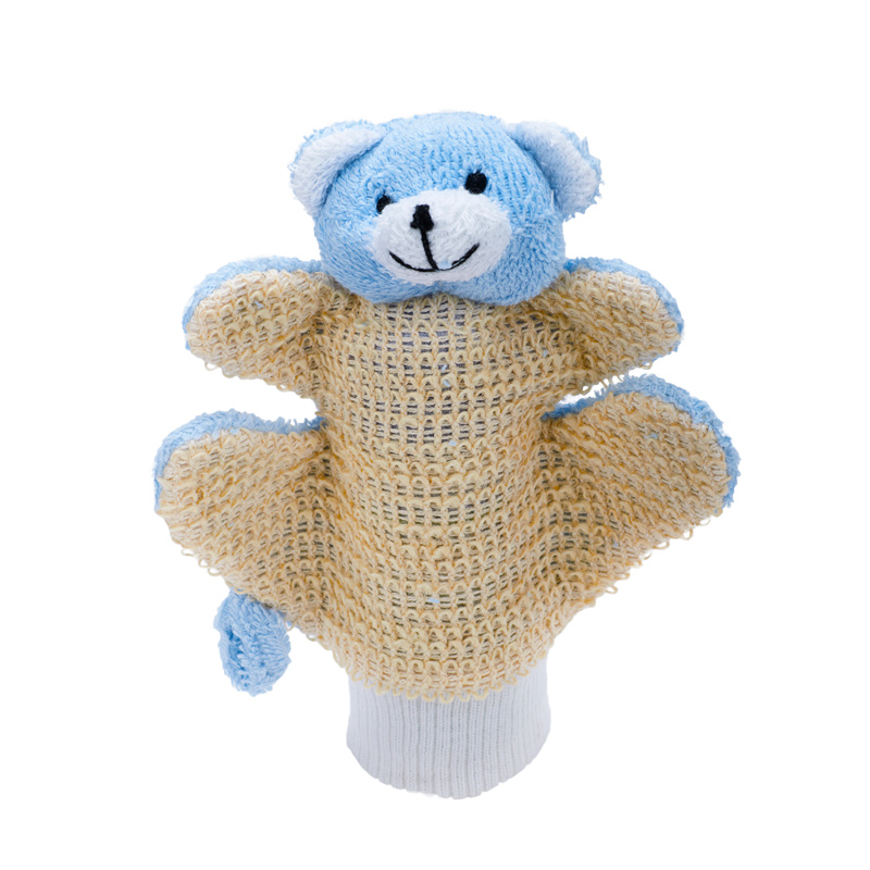MYCÍ RUKAVICE-medvídek modrý - Sisal, Lufa, Ramie, Len - zvìtšit obrázek
